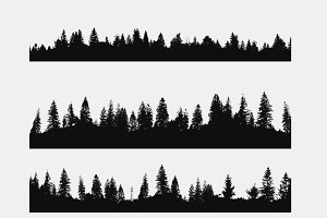 realistic forest silhouette