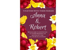 Vector wedding flowers invitation