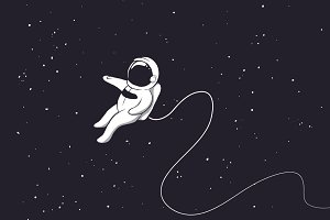 Astronaut is alone in outer space