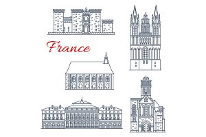 France architecture vector landmarks