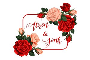 Vector roses flowers frame with