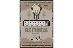 Electric socket and lightbulb vector