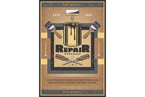 Repair tools and paint brush vector