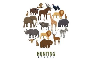 Vector hunting season poster of wild