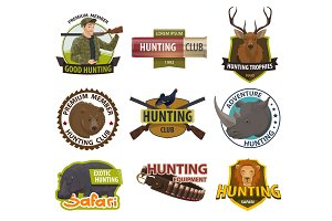 Vector icons of hunting club or hunt
