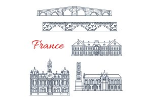 Vector architecture icons of France