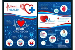 Vector brochure of cardiology heart