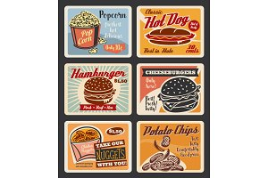 Vector retro fast food burgers and