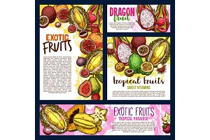 Vector exotic tropical fruits sketch