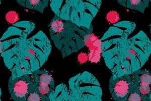 Monstera leaf sketch pattern vector