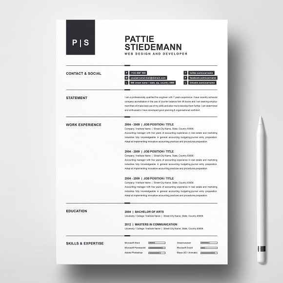 2 pages clean resume template resume templates creative market