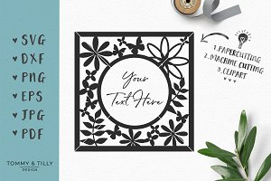 Round Floral Frame - SVG & Clipart