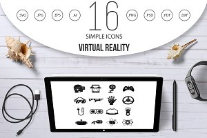 Virtual reality icons set, simple