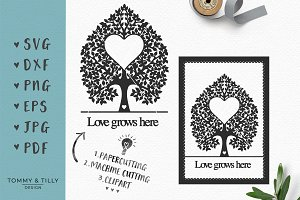 Wedding Heart Tree - SVG & Clipart
