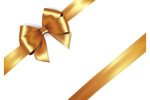 Shiny golden satin ribbon