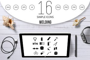 Welding icons set, simple style