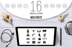 Wild west icons set design logo