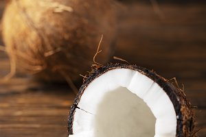 Fresh coconut on the wooden table