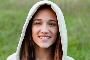 Smiling teen girl outside