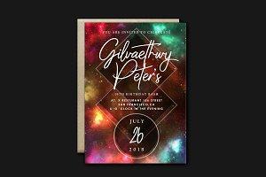 Galaxy Birthday Invitation Card