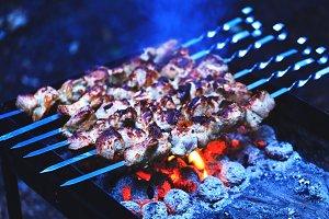 Shashlik or meat kebab
