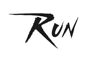 Run vector lettering