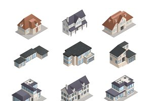 Isometric suburban houses set