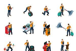 Car service isometric icons set