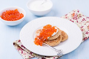 Buckwheat blini with red caviar