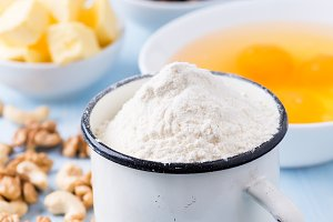 Cup of flour, eggs, butter, nuts