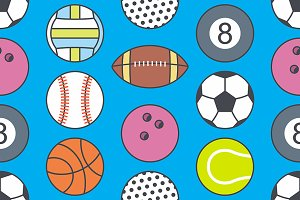 Seamless pattern with Sports Balls