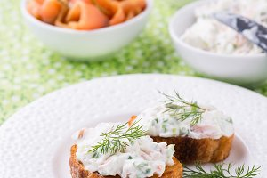 Canape with soft cheese spread