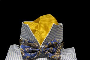 shirt and bow tie with silk scarf