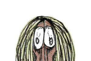 Primitive Man Portrait Cartoon Style