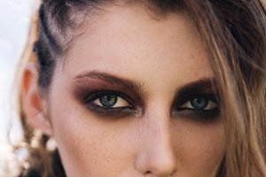 Portrait of pretty grunge girl