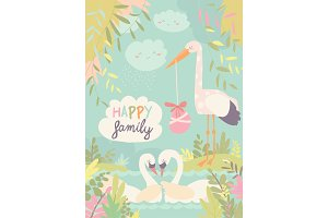 Cartoon swans in love and stork with