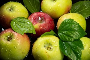 Apples and leaves with water-drops