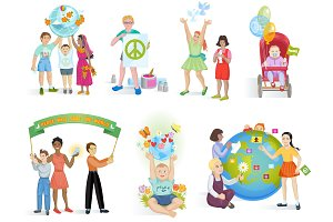 People in peace vector world kids on