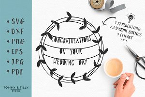 Congratulations Wreath - Wedding SVG