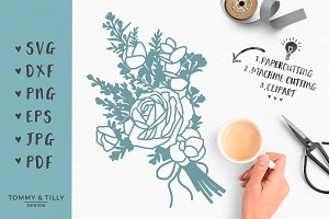 Country Flowers Bouquet Wedding SVG