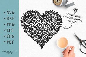 Delicate Leaf Love Heart - SVG