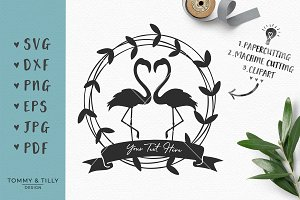 Flamingo Wedding Wreath - SVG