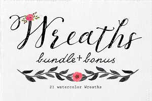 (-60%) Watercolor Wreaths Bundle