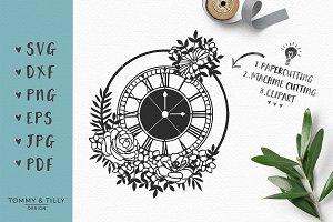 Floral Clock - Wedding SVG & Clipart