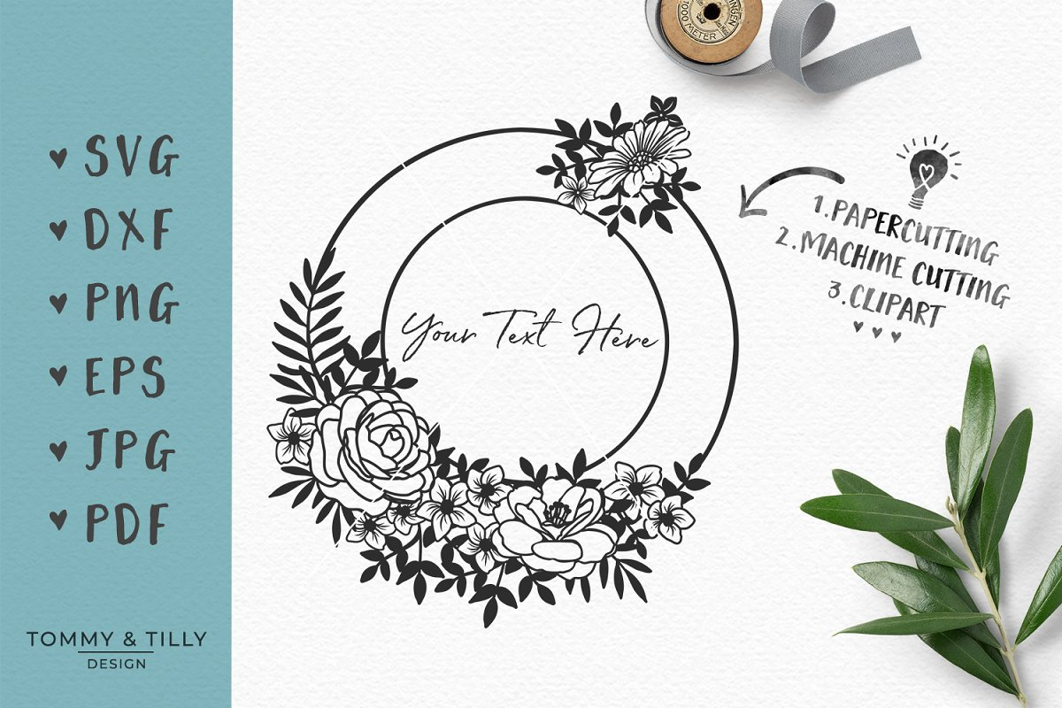 Flower Circle Frame Wedding Svg Custom Designed Graphic