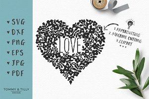 Flower Love Heart - Wedding SVG