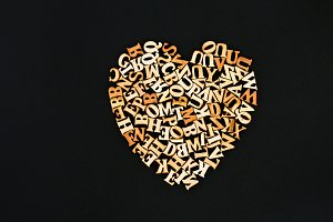 Wooden letters in the form of a circ