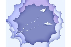 Flying paper airplanes on clouds