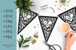 Just Married Bunting - Wedding SVG