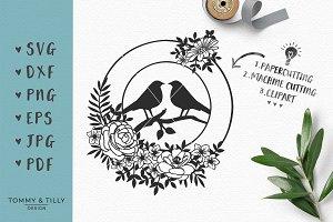 Love Bird Flower Circle SVG Clipart